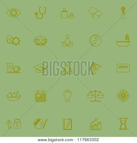 Meditation Green Line Icons
