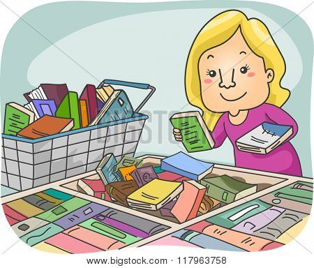 Illustration of a Girl Choosing Books at a Book Fair