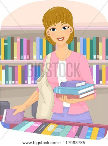 Illustration of a Girl Choosing Books at a Book Store