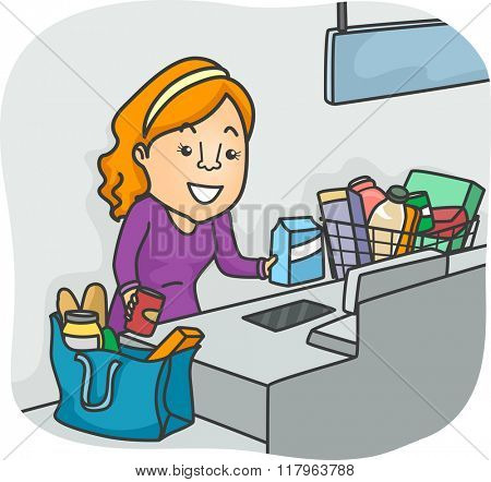 Illustration of a Girl Using the Self Check Out Section of a Grocery