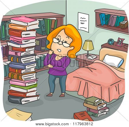 Illustration of a Girl Assessing the Pile of Books in Her Bedroom