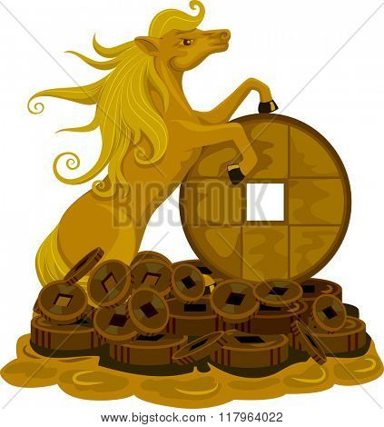 Illustration of a Golden Horse Standing on Top of a Pile of Coins for Luck