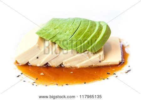 Avocado with tofu and japanese sauce, fusion food