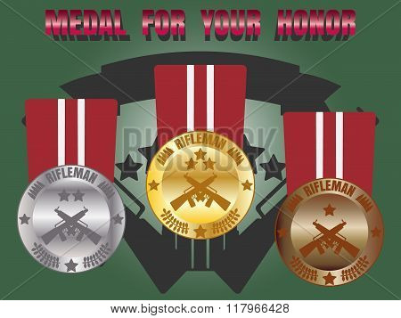 Medal Skill Honor Rifleman Set