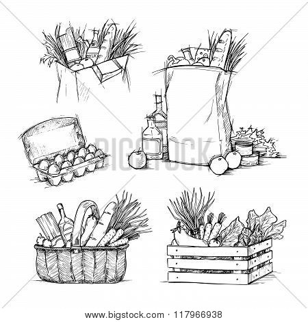 Hand Drawn Vector Illustrations - Shopping Bags With Healthy Food. Grocery Store. Supermarket.