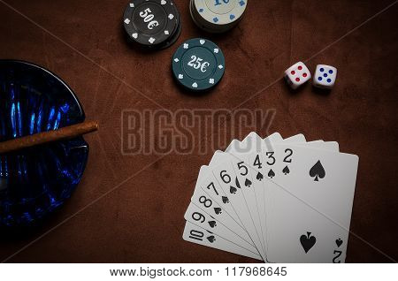 Poker Chips And Generic Playing Cards