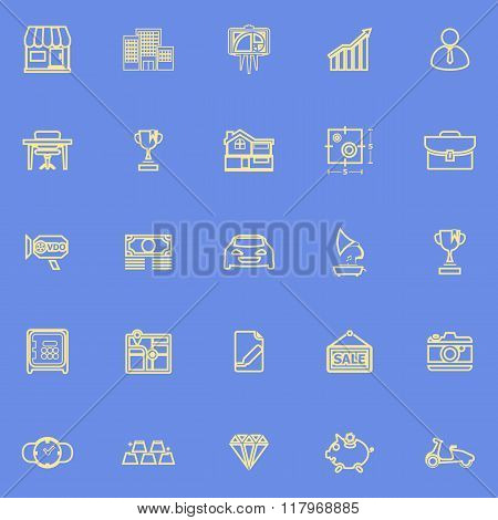 Asset And Property Yellow Line Icons