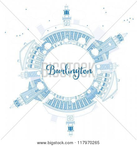 Outline Burlington (Vermont) City Skyline with Blue Buildings and Copy Space. Business and tourism concept. Image for presentation, banner, placard or web site