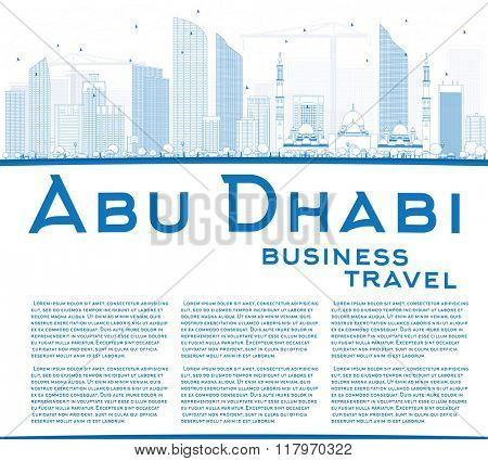 Outline Abu Dhabi City Skyline with Blue Buildings and Copy Space. Business Travel and Tourism Concept with Modern Buildings. Image for Presentation Banner Placard and Web Site.