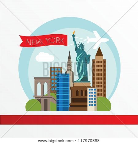 New York, detailed silhouette. Trendy vector illustration, flat style. Stylish colorful  landmarks.