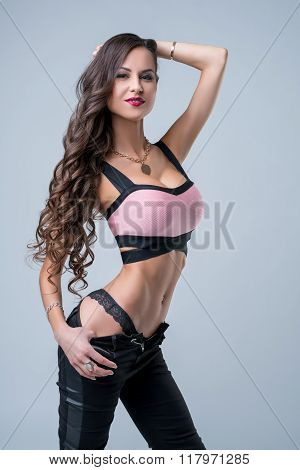 Beautiful model advertises trendy sexy clothes