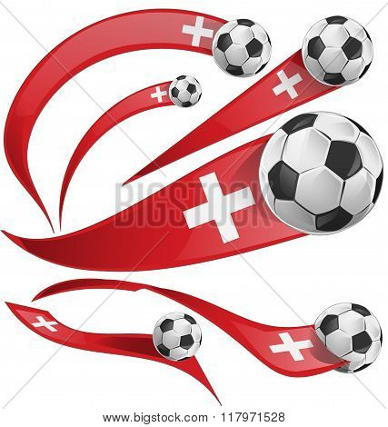swiss flag set with soccer ball isolated on white