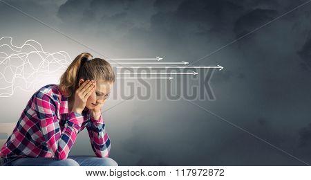 Pensive student girl