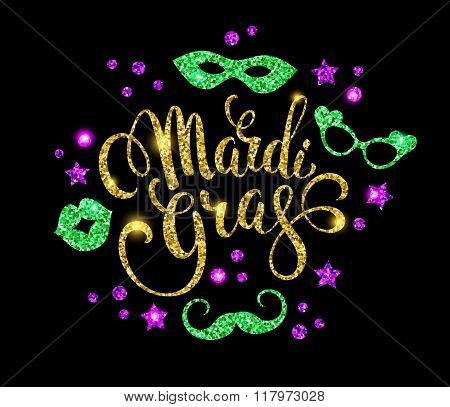 Mardi Gras. Glittering lettering design for Banners Flyers Placards Posters and other use.Vector illustration