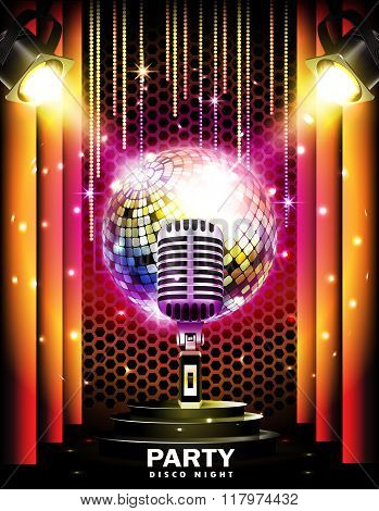 Stage with podium,retro microphone, disco ball and spotlights.