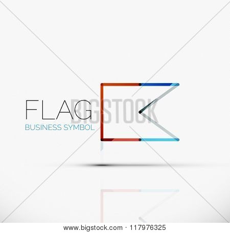 Logo flag, abstract linear geometric business icon