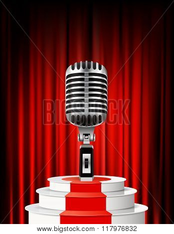 Background with retro microphone against red curtain backdrop.