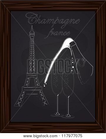A Nice Two Glass And A Bottle Of Champagne With Foam On The Background Eifel Tower