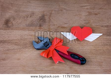 Adjustable wrench with hearts. A gift on Valentine's Day. Gift for a real man.  The key to a man's h
