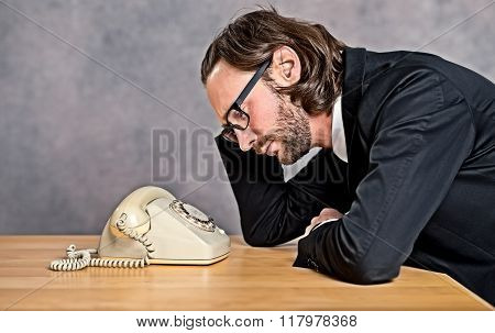 Businessman Waiting For A  Important Phone Call