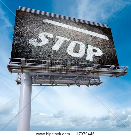 3D rendering of an advertising billboard with a ground stop sign