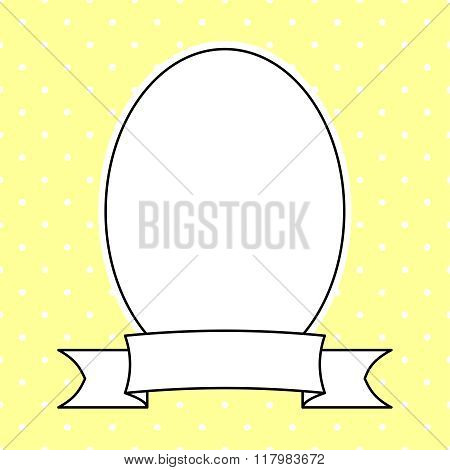 Vector frame with white polka dots on yellow background