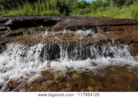 Clear flowing water in a small creek with green vegetation in the background.