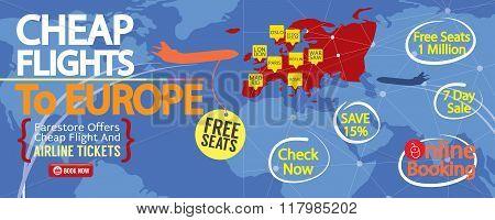 Cheap Flight To Europe 1500X600 Banner.