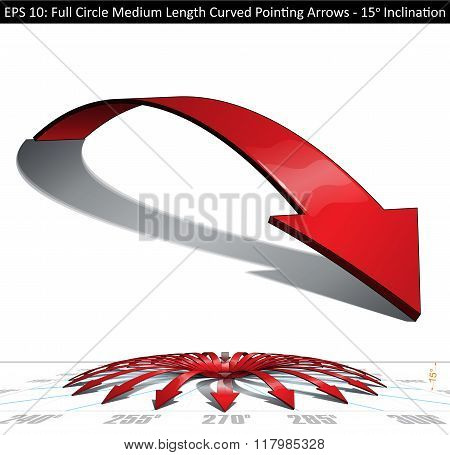 Full Circle Medium Length Curved Pointing Arrows Set - 15 Degrees Inclination