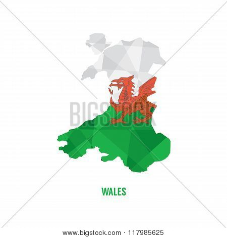 Map Of Wales Vector Illustration.
