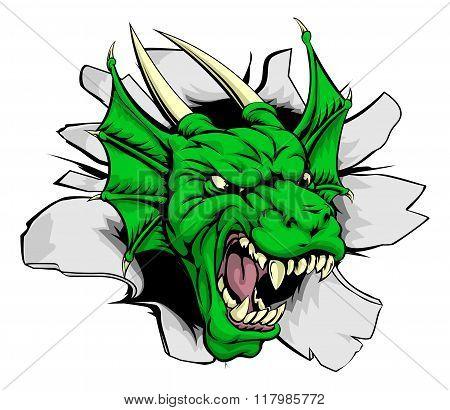 Dragon Mascot Breaking Through Wall