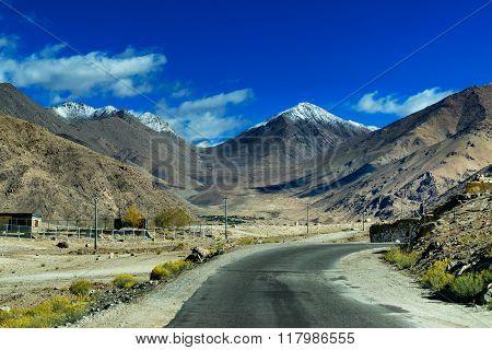 Road Towards Mountains, Blue Sky, Himalaya, Leh, Ladakh, Jammu And Kashmir, India