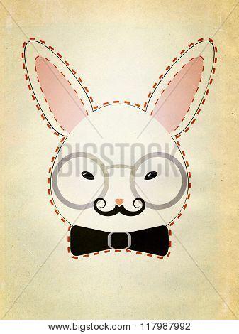 Rabbit Head With Glasses Grunge