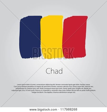 Chad Flag With Colored Hand Drawn Lines In Vector Format