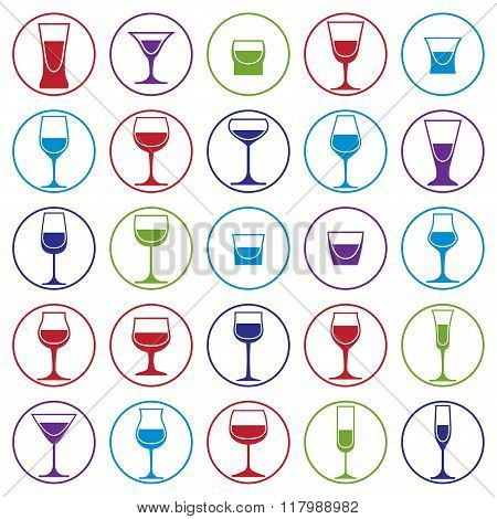 Drinking Glasses Collection,vector Martini, Wineglass, Cognac, Whiskey And Champagne. Alcohol Theme