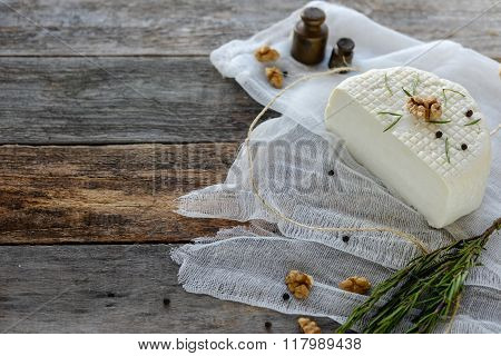 Circassian curd cheese on a wooden background