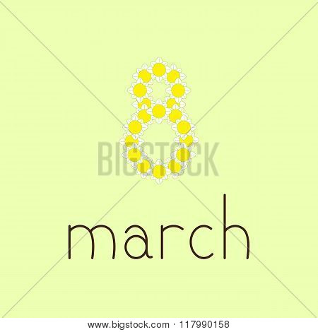 8 March Greeting Card With Camomiles