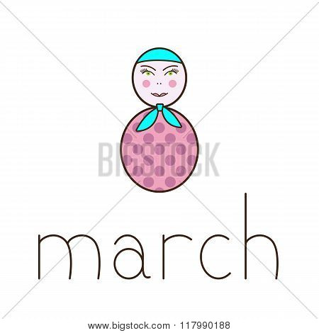 8 March Greeting Card With Matryoshka