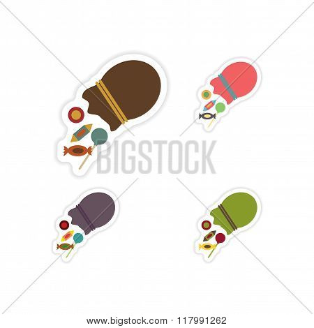 Set of paper stickers on white background  Candy in bag