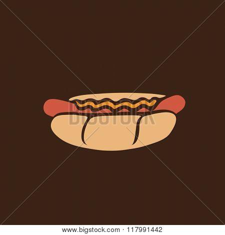 Hot-dog retro icon