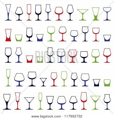 Classic Goblets Collection, Vector Martini, Wineglass, Cognac And Whiskey. Alcohol Theme Illustratio