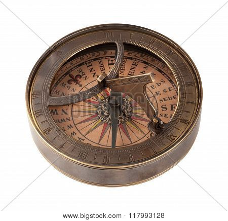 Ancient Brass Compass And Sundial