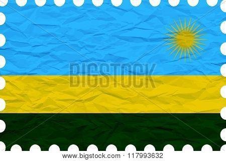Wrinkled Paper Rwanda Stamp