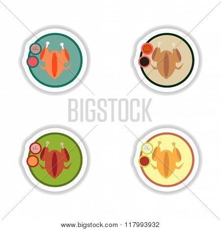 Set stickers roasted chicken on a plate
