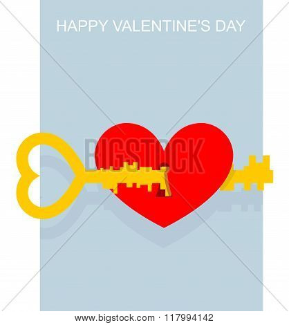 Valentines Day. Key To Heart. Large Complex Key Opens Keyhole In Heart. Red Heart Symbol Of Love. Va