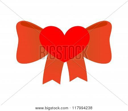 Bow Love. Red Ribbon With Knot Of Love. Symbol Of Heart And Red Ribbon. Illustration For Valentines