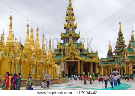 Yangon, Myanmar - October  2015: Pilgrims visiting Shwedagon Pagoda for worship in Yangon, Myanmar