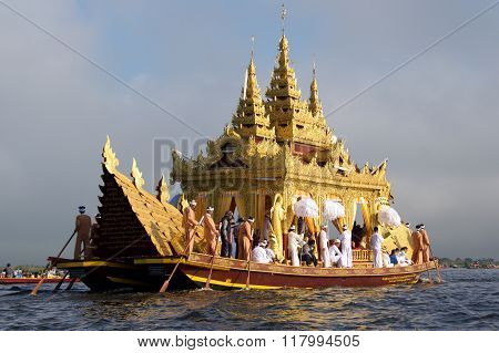 Inle Lake, Myanmar - CIRCA October 2015: Karaweik Barge leading the procession in Pagoda Festival on Inle Lake, Myanmar