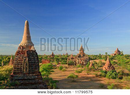 The Temples of bagan at sunset, Bagan, Myanmar
