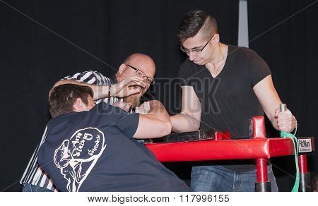 Unidentified Sportsmen Compete In Arm Wrestling